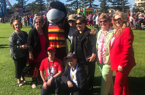 Adelaide Crows mascot at Dream Ride Australia